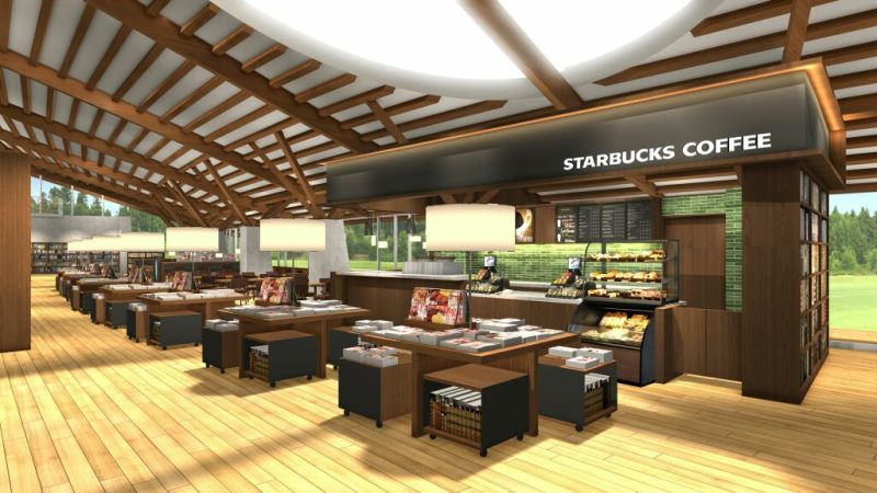 Starbucks at a public library | JAPANESE DESIGN
